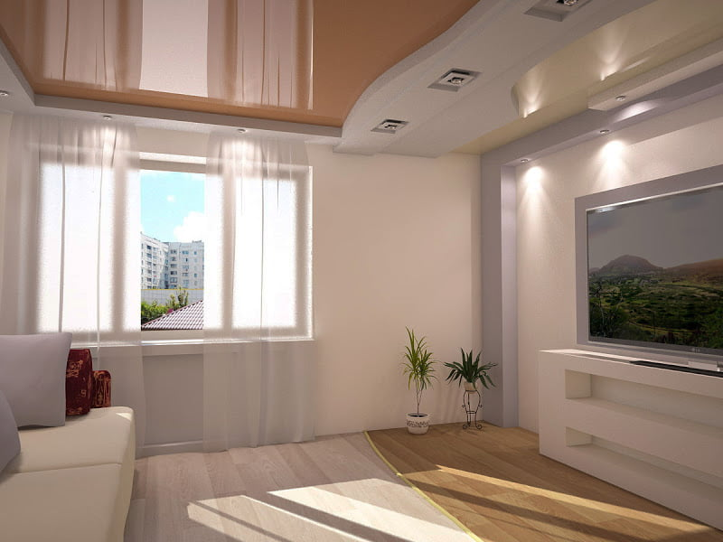 Глянцевые натяжные потолки в зале