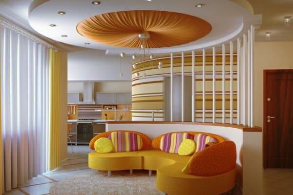 Тканевые натяжные потолки в зале, гостиной