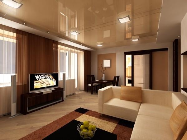 Натяжные потолки с подчеркиванием мебели